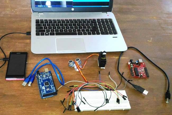 Внешний вид радара с использованием Arduino и ультразвукового датчика