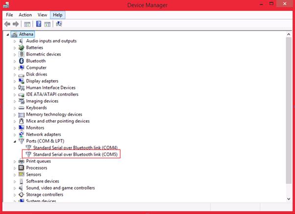 Выбор COM порта для подключения Bluetooth модуля