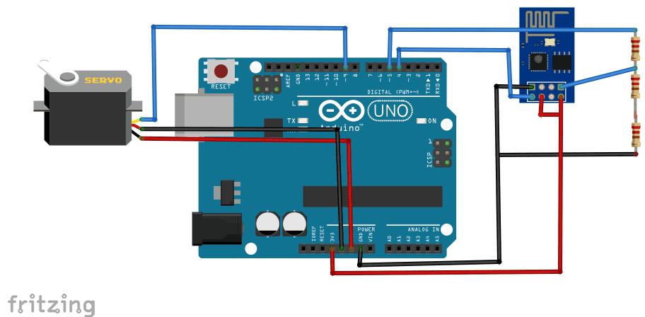 Схема управления сервомотором по Wi-Fi с помощью Arduino