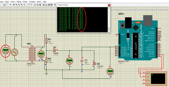 Симуляция работы вольтметра при входном напряжении 285 В