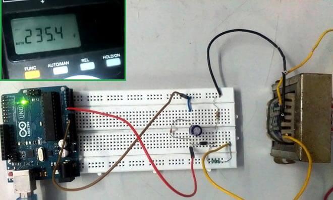 Внешний вид вольтметра переменного тока на Arduino Uno