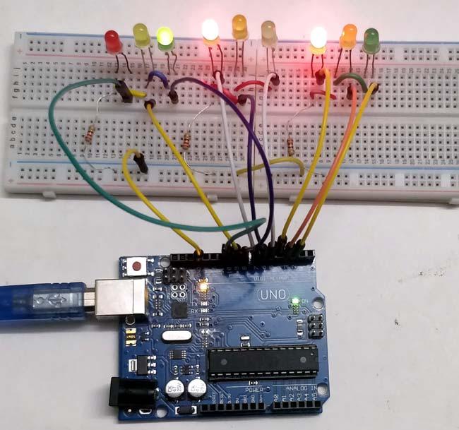 Внешний вид светофора для дороги с 3 путями на Arduino Uno