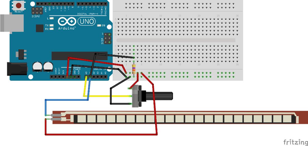 Схема контроллера для игры Angry Bird на основе Arduino, гибкого датчика и потенциометра
