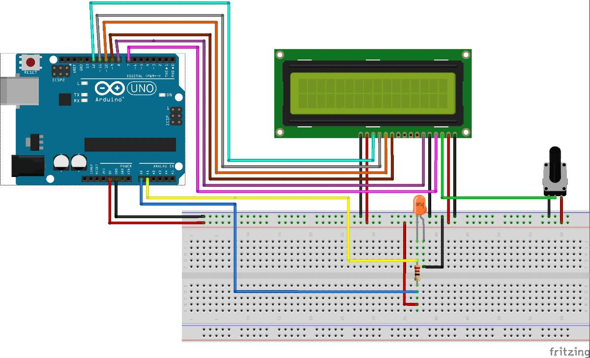 Схема цифрового амперметра на основе платы Arduino Uno