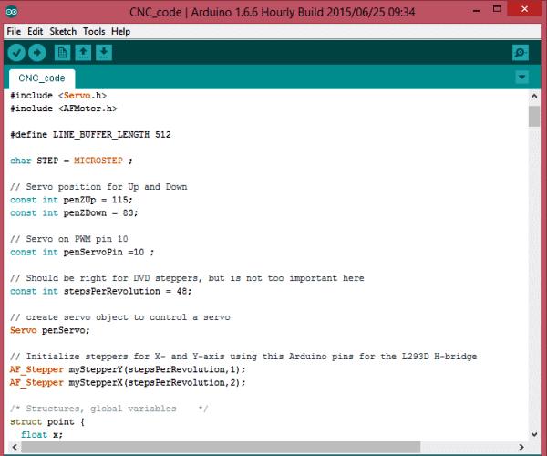 Внешний вид кода программы для Arduino