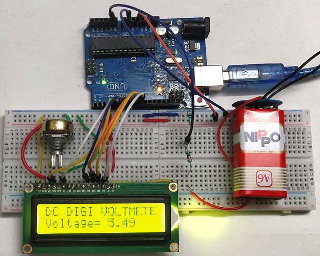 Внешний вид простого вольтметра на Arduino Uno