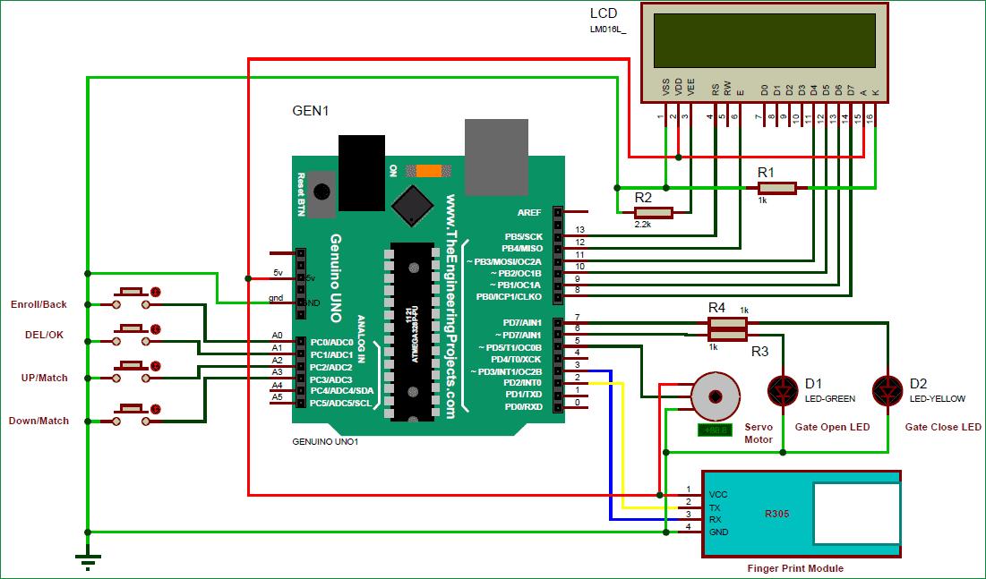 Схема биометрической системы безопасности c использованием Arduino и датчика отпечатков пальцев
