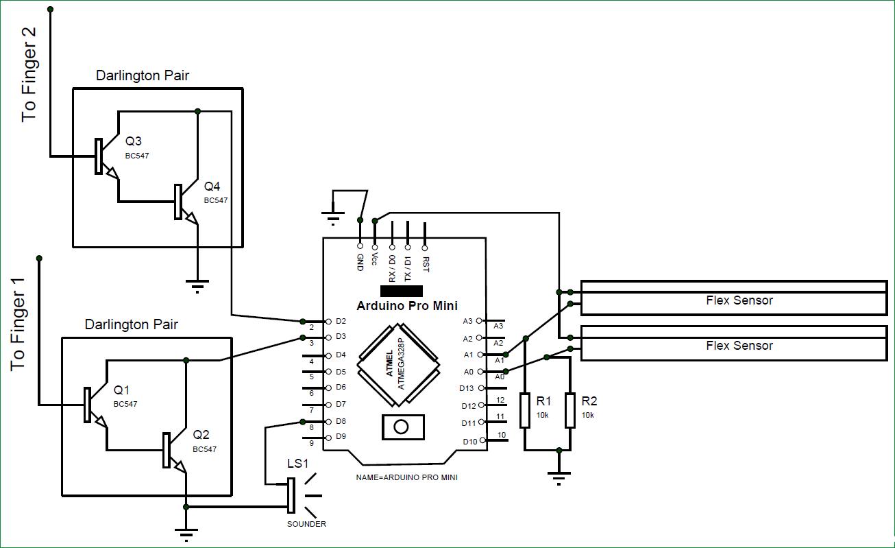 Схема устройства для генерации тонов движениями пальцев на основе Arduino