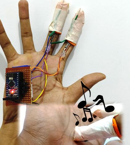 Внешний вид генерации тонов движениями пальцев с использованием Arduino