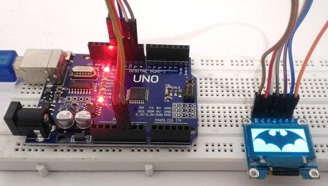 Внешний вид подключения OLED дисплея SSD1306 к Arduino Uno