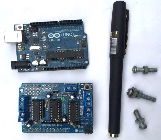 Плата Arduino, драйвер мотора и ручка