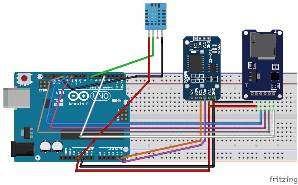 Схема логгера данных на Arduino
