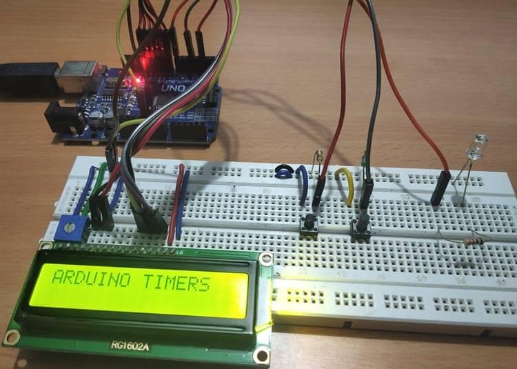 Внешний вид конструкции для изучения таймеров Arduino