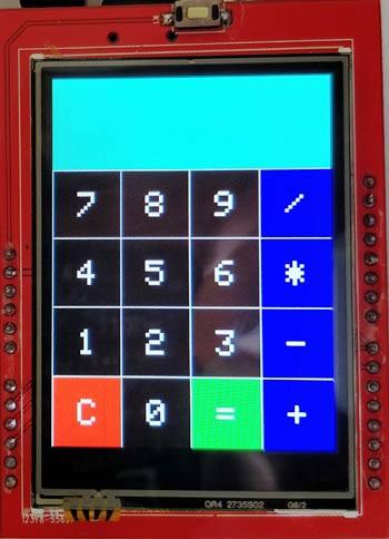 Внешний вид нашего калькулятора на экране TFT ЖК дисплея