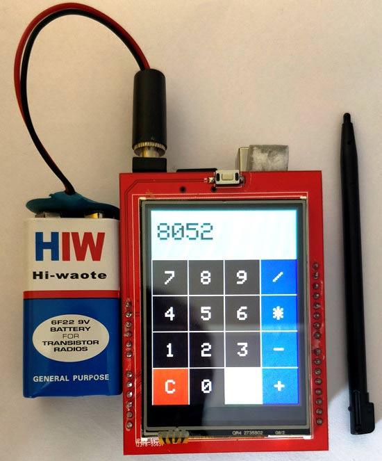 Внешний вид калькулятора на сенсорном TFT ЖК дисплее с использованием Arduino