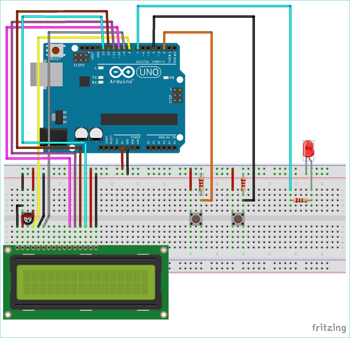 Схема конструкции для изучения таймеров Arduino