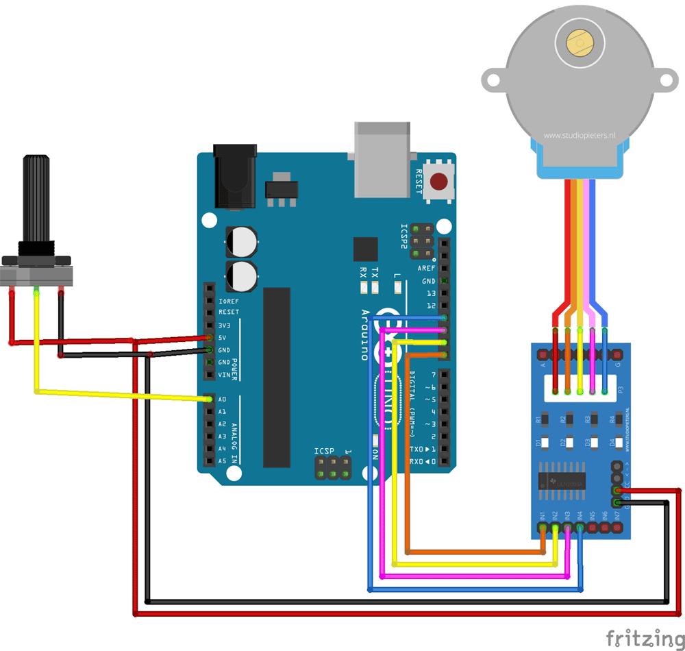 Схема для управления шаговым двигателем с помощью Arduino и потенциометра