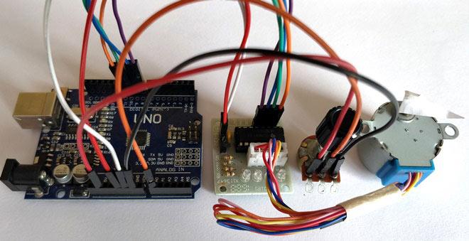 Управление шаговым двигателем с помощью Arduino и потенциометра: внешний вид конструкции
