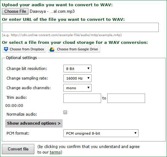 Настройка параметров для конвертирования аудио файла