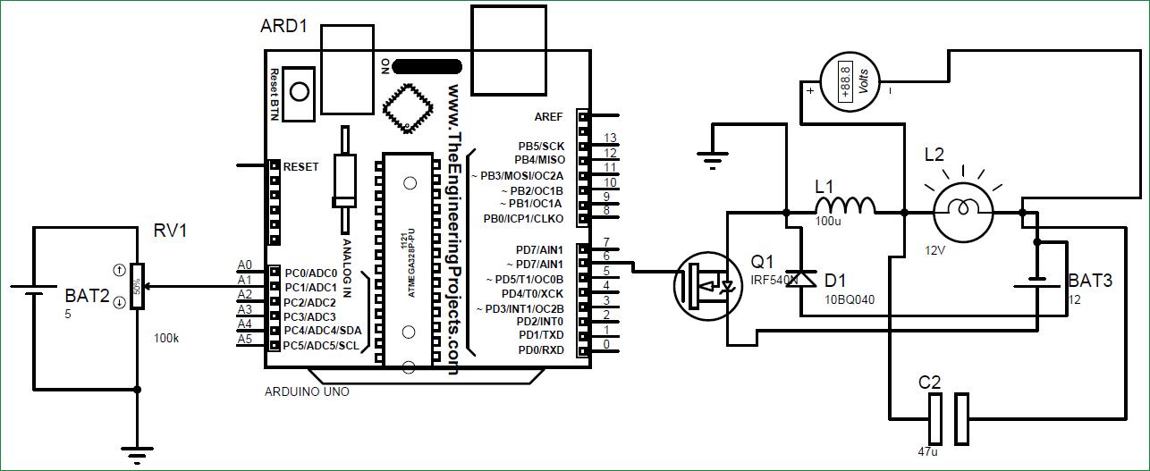 Схема понижающего преобразователя постоянного тока на Arduino
