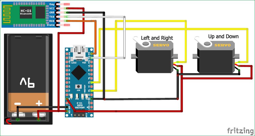 Схема робота на Arduino, распознающего и отслеживающего лица