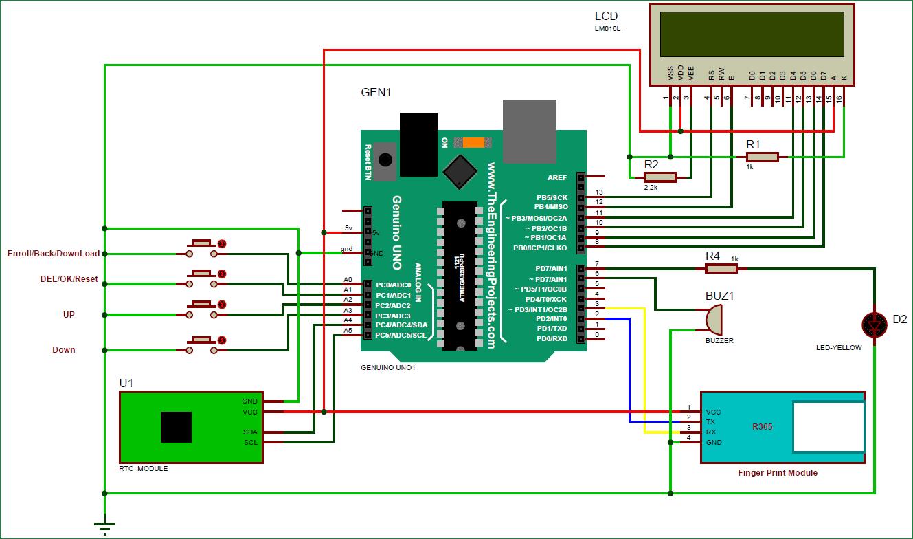 Схема биометрической системы посещаемости c использованием Arduino