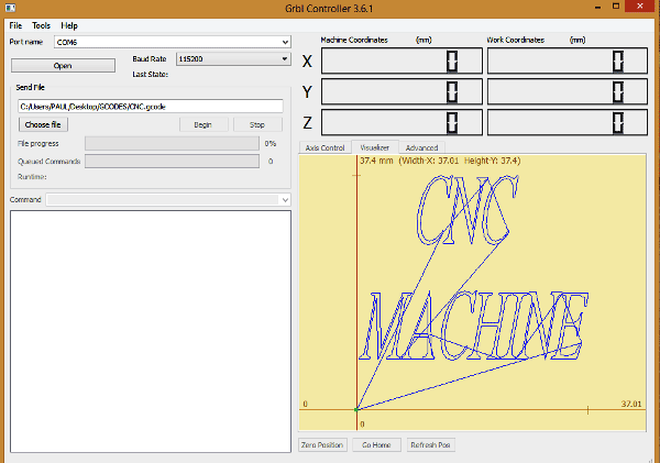 Внешний вид окна контроллера GRBL
