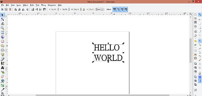 Создание надписи HELLO WORLD в Inkskape