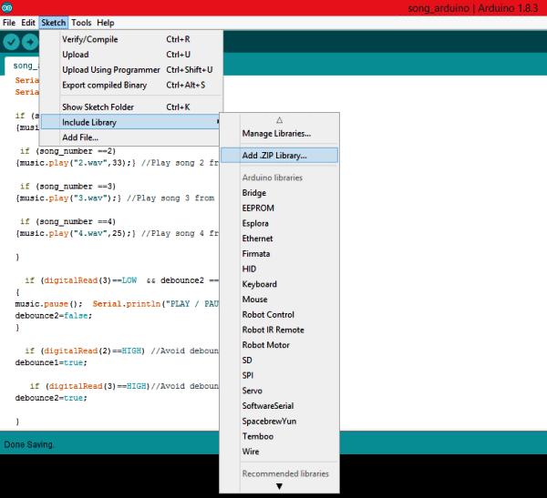 Добавление библиотеки для работы с аудио файлами в Arduino IDE