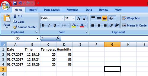 Вид сохраненных данных в Excel файле