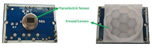 Вид снаружи и внутри PIR датчика (датчика движения)