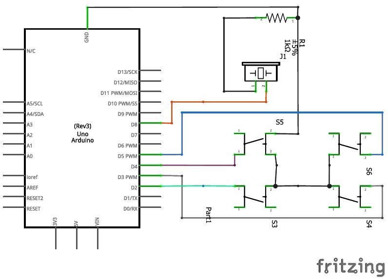 Схема проекта для проигрывания мелодий с помощью функции Tone() на Arduino