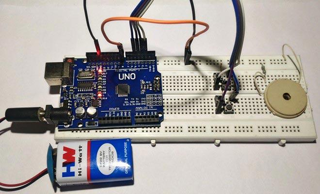 Внешний вид проекта для проигрывания мелодий с помощью функции Tone() на Arduino