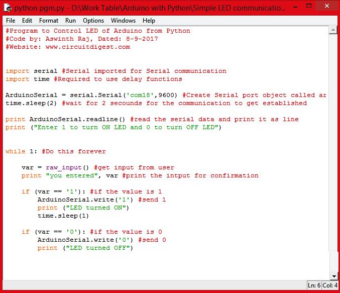 Внешний вид полного текста программы на Python