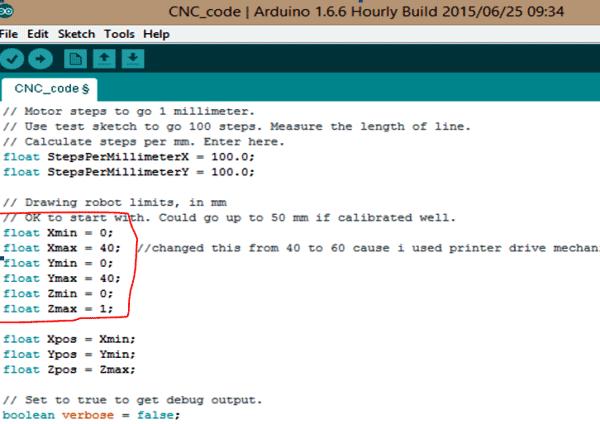 Задание границ рисования плоттера в программе для Arduino