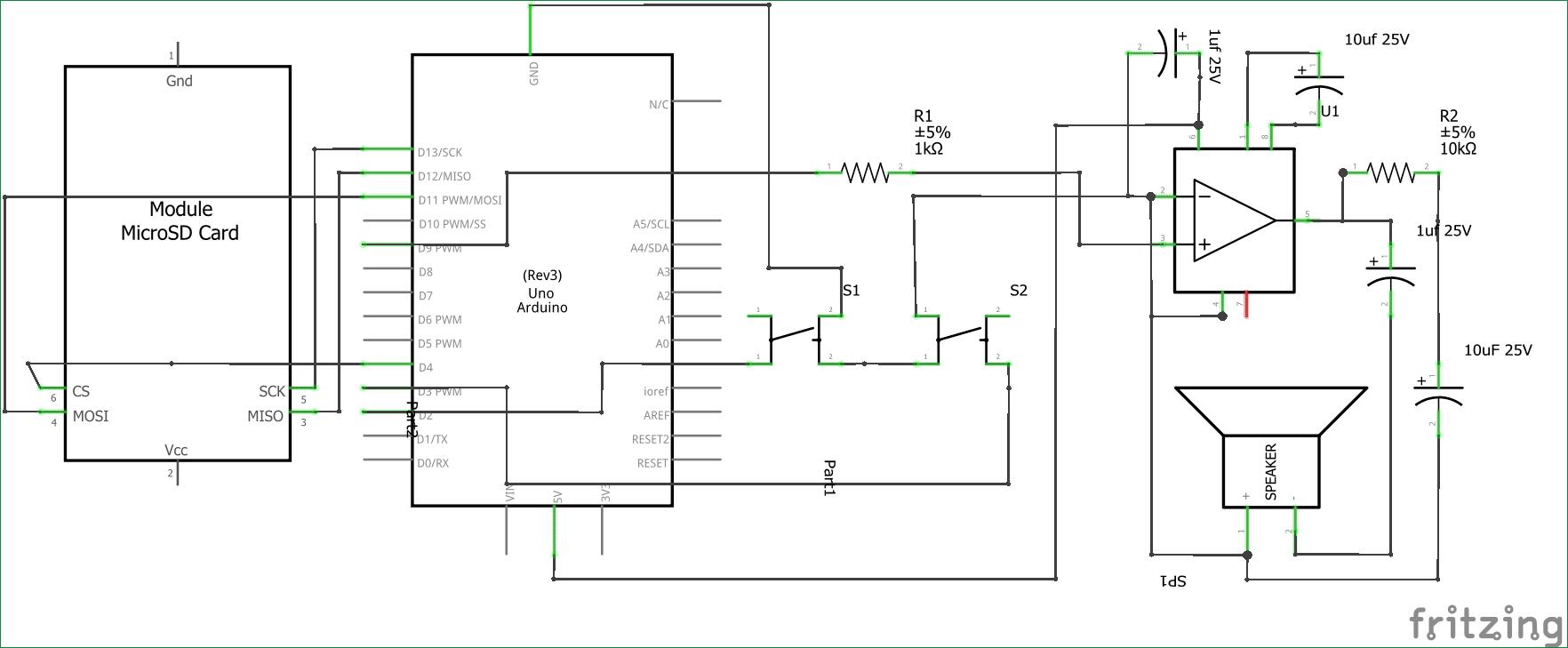 Схема аудиоплеера и усилителя на Arduino Uno