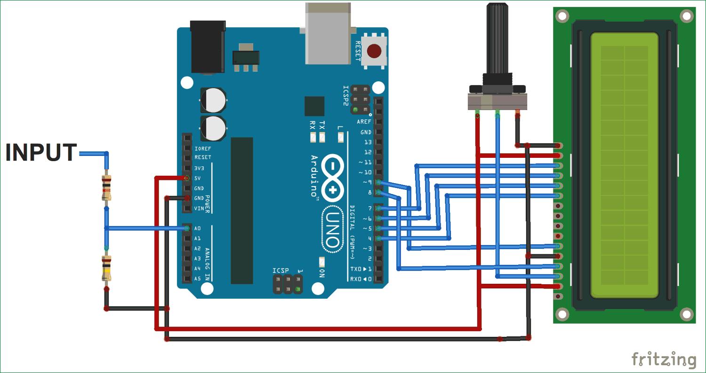 Схема простого вольтметра на Arduino Uno