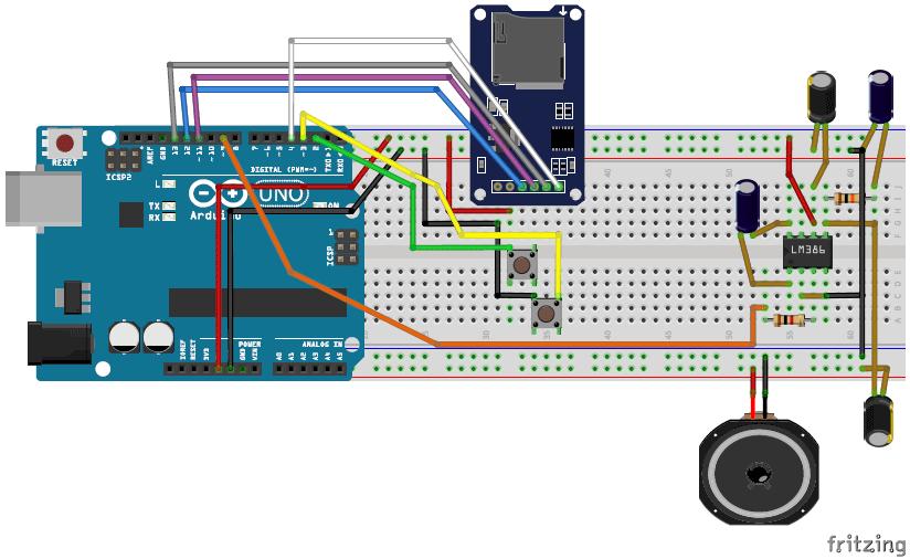 Собранная на макетной плате схема аудиоплеера и усилителя на Arduino Uno