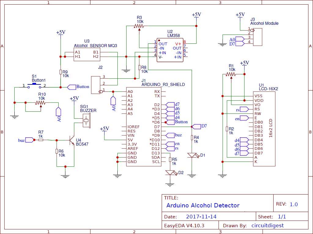 Схема детектора алкоголя (алкотестера) на основе платы Arduino
