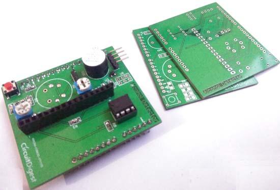 Вид печатной платы детектора алкоголя перед пайкой компонентов