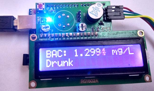 Внешний вид детектора алкоголя на Arduino