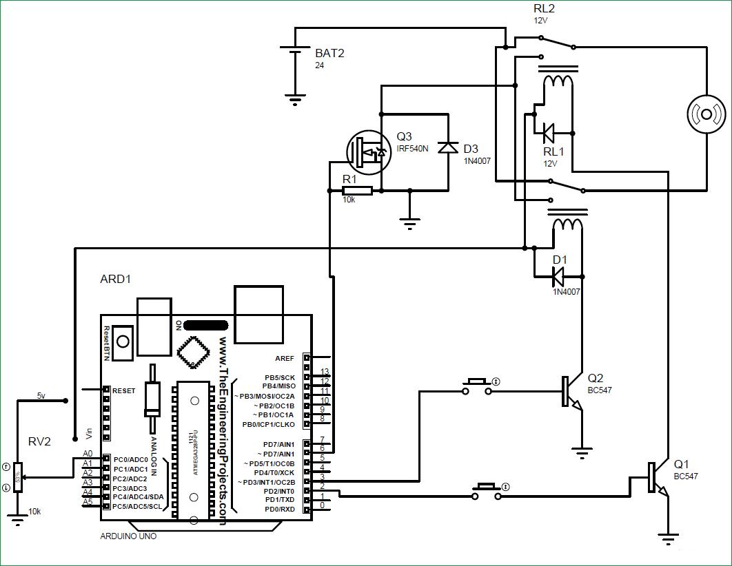 Схема проекта управления скоростью и направлением вращения электродвигателя с помощью Arduino, реле и MOSFET