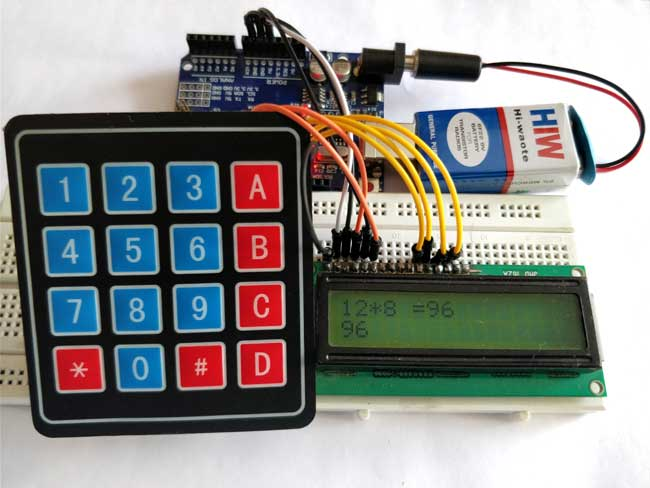 Внешний вид калькулятора с использованием клавиатуры 4х4 и Arduino