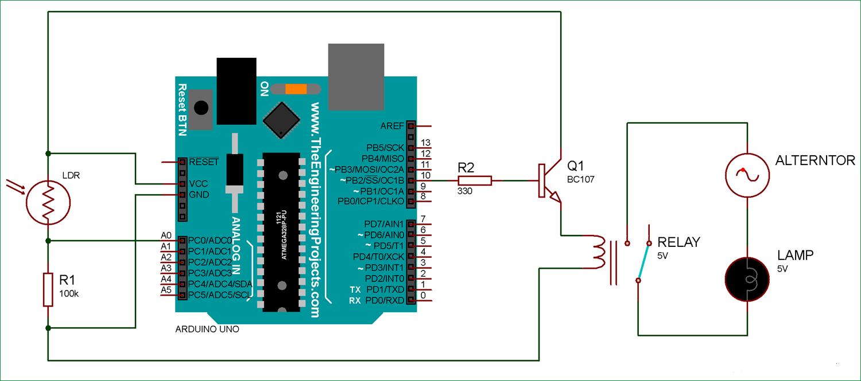 Схема подключения фоторезистора и реле к плате Arduino