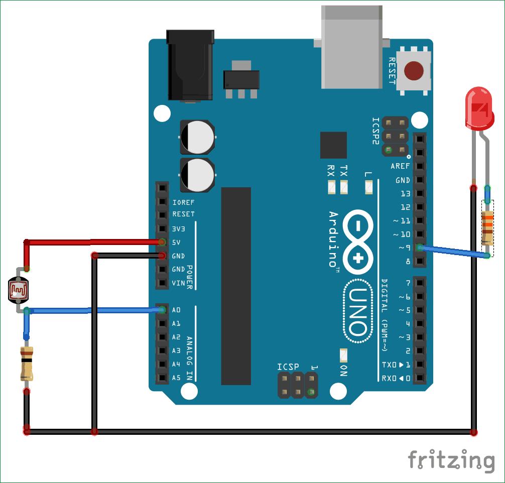 Схема подключения фоторезистора к плате Arduino