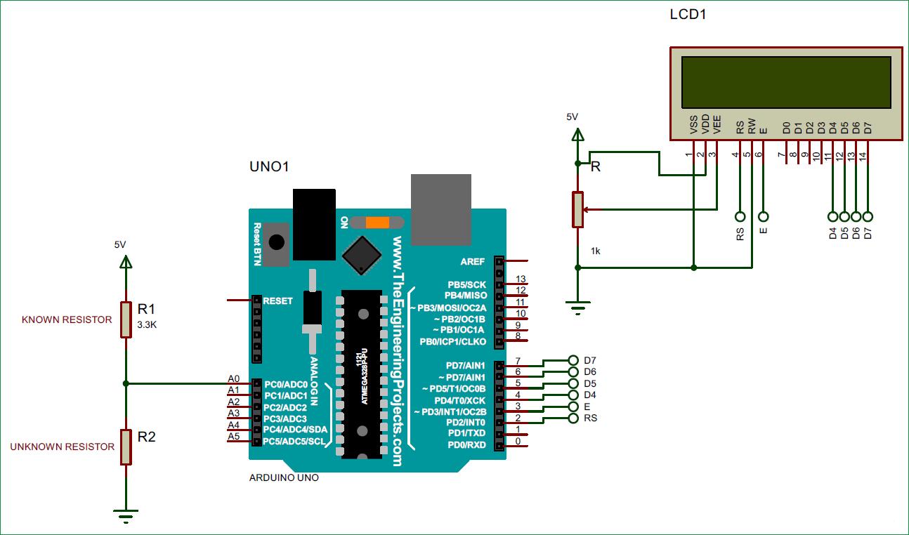 Схема омметра на основе платы Arduino Uno