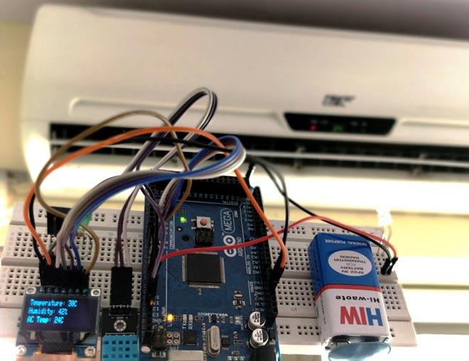 Внешний вид проекта автоматического управления температурой кондиционера с помощью Arduino и DHT11