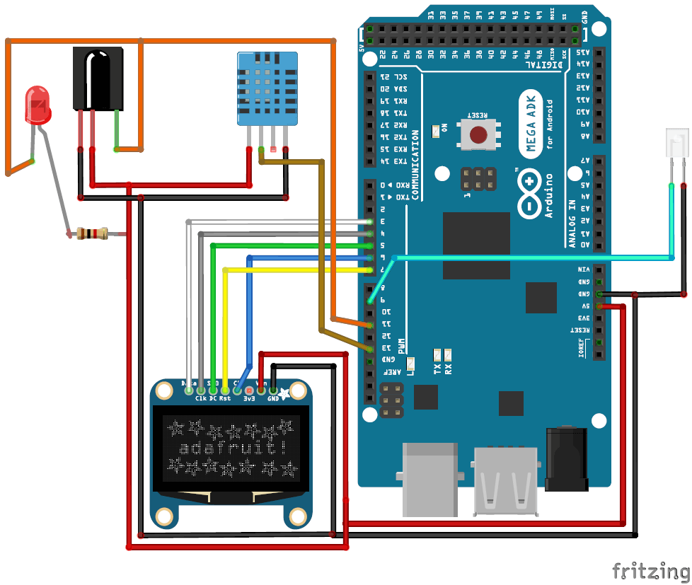 Схема проекта автоматического управления температурой кондиционера с помощью Arduino и DHT11