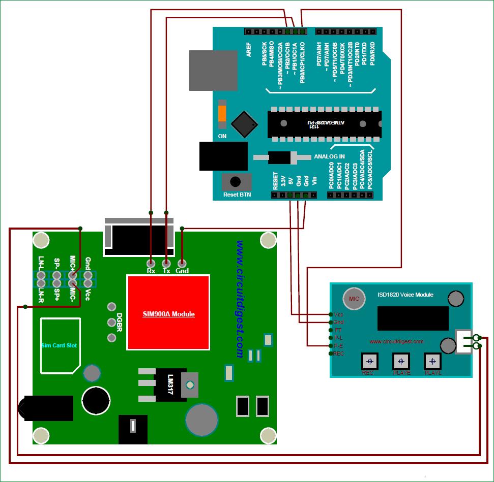 Схема автоответчика с использованием Arduino и GSM модуля