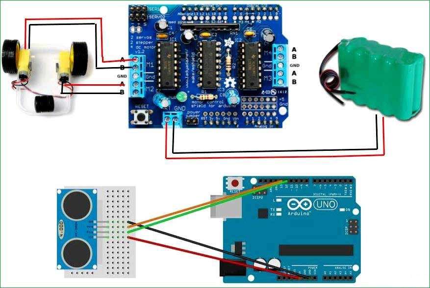 Схема робота для очистки пола на основе Arduino и ультразвукового датчика